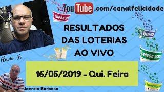 Loterias ao vivo 16-05-2019 - Quina 4976 - Dia de sorte 151 - Dupla Sena 1936 - Timemania  1332_1