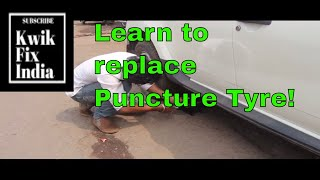 Spare Tyre Change in case of emergency. Stepany Tyre change process