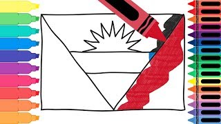 How to Draw Antigua and Barbuda Flag - Drawing the Antiguan Flag for Kids   Tanimated Toys