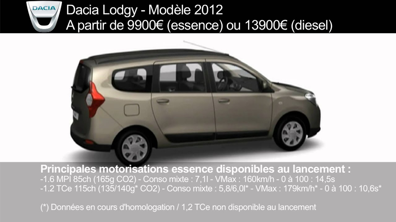 dacia lodgy prix finitions dimensions et motorisations youtube. Black Bedroom Furniture Sets. Home Design Ideas