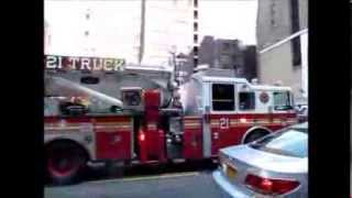 *ATTEMPTING* to respond CODE 3. New York City Fire engines  truck Times Square