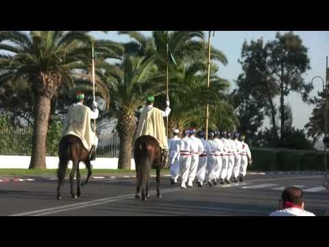 Flag-lowering ceremony near the Mausoleum of Mohammed V, Rabat, Morocco