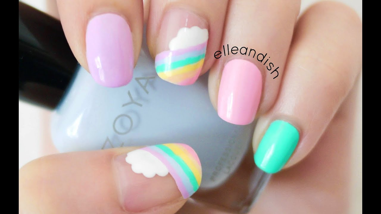 Easy Cloud Rainbow Nails Youtube