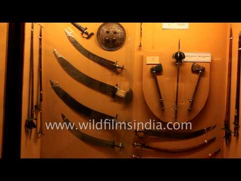 Swords, revolvers, ceramic sculptures at Salar Jung Museum, Hyderabad
