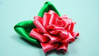 Ажурная РОЗА Канзаши. Мастер-класс  / Satin Ribbon Rose Tutorial Kanzashi / ✿ NataliDoma