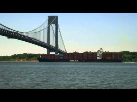 Container Ship ZIM LUANDA Outbound Under Verrazano Narrows Bridge in New York (June 16, 2014)