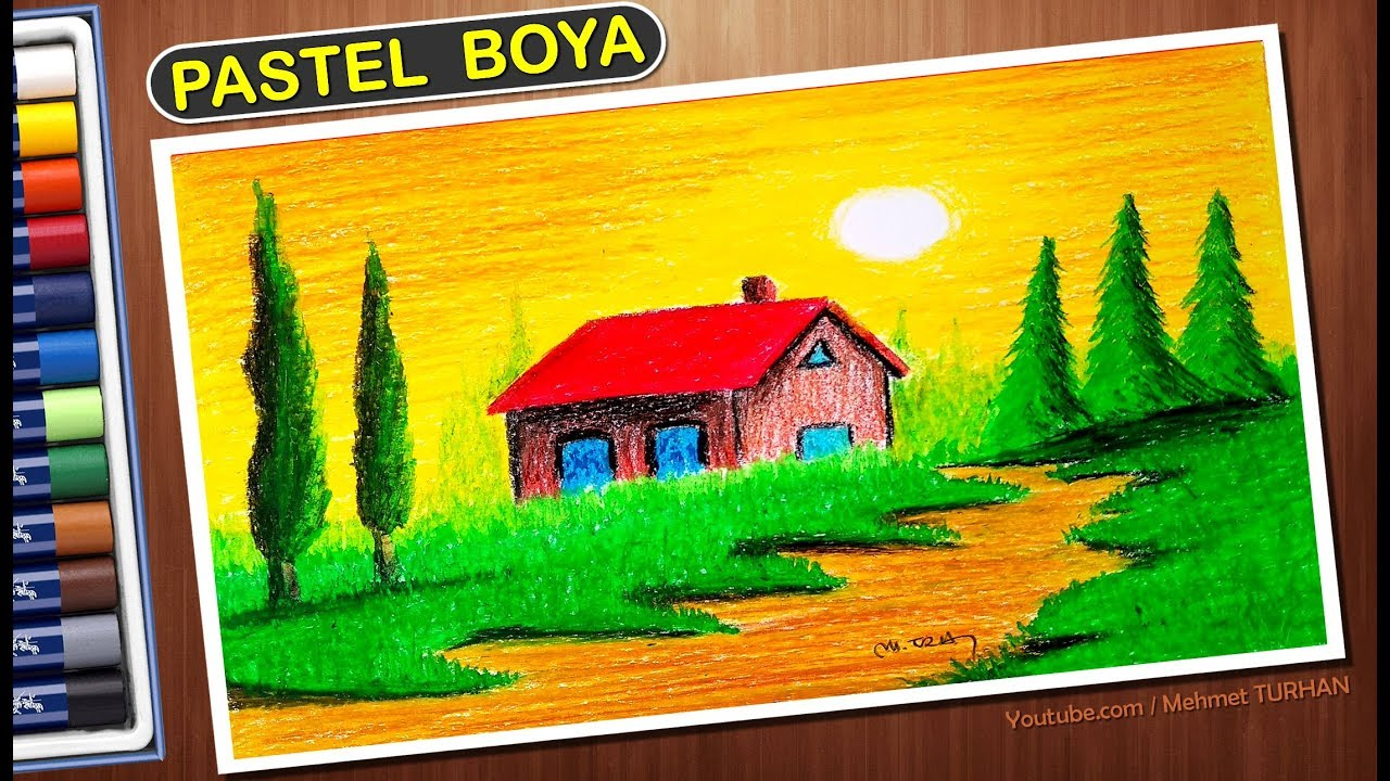Pastel Boya Manzara çizimi Pastel Paint Scenery Drawing