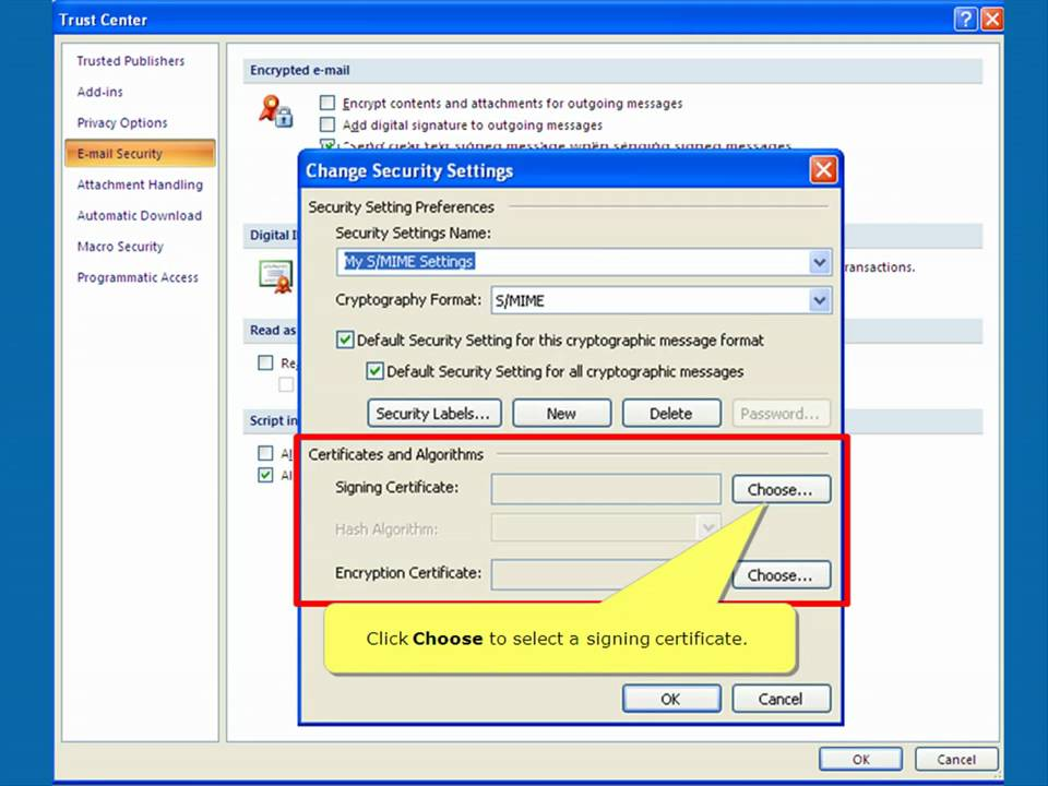 Digital Signatures for Microsoft Outlook 2007 - YouTube