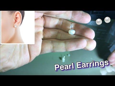 Pearl Stud Earrings Freshwater Natural Silver