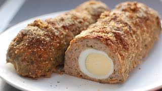 Мясной рулет с яйцом на пару в мультиварке