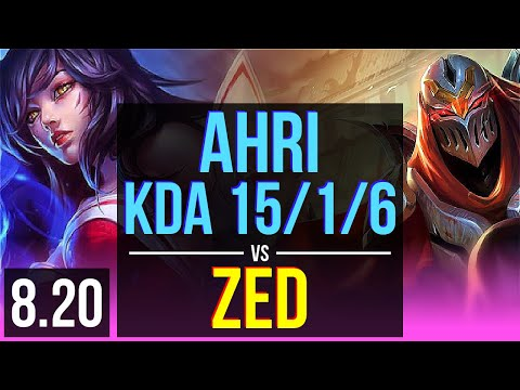 AHRI vs ZED (MID) | KDA 15/1/6, 900+ games, Legendary | BR Master | v8.20