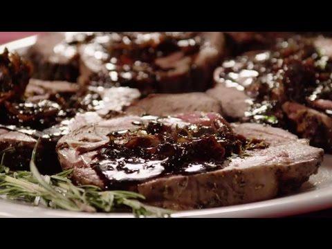 How to Make Stuffed Leg of Lamb with Balsamic Fig Basil Sauce   Lamb Recipes   Allrecipes.com