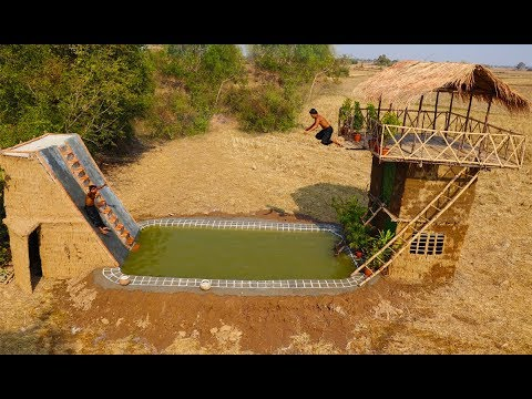 Build Water Slide House With Swimming Pool And Build Three -  Story House (Full Video)