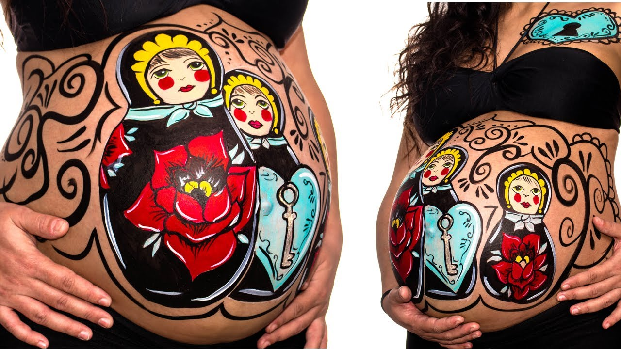 matrushka maternity belly painting youtube - Pregnant Halloween Painted Bellies