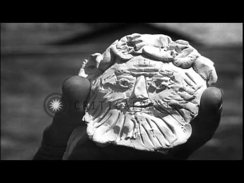 Pablo Picasso makes and displays owl painting,collage work,modern art paintings a…HD Stock Footage