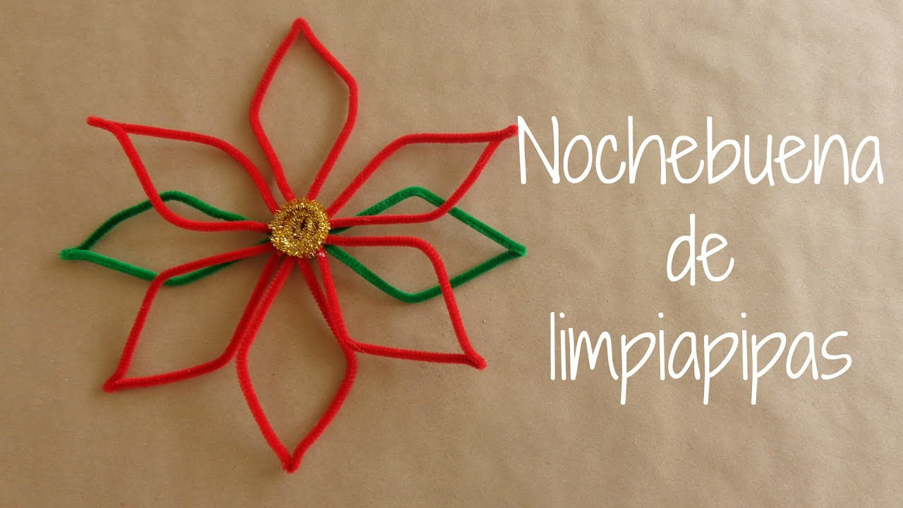 Diy nochebuena de limpiapipas decoracion navide a for Adornos con plantas de nochebuena