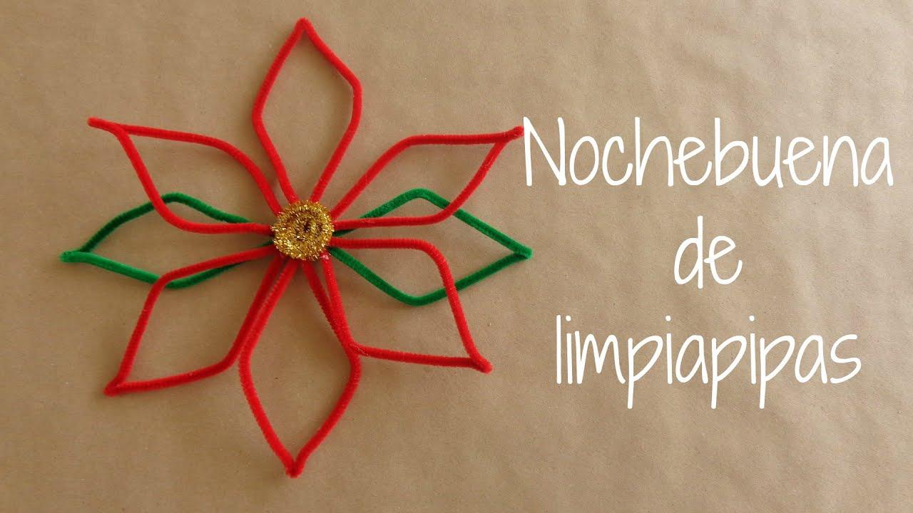 Diy nochebuena de limpiapipas decoracion navide a - Como hacer decoraciones navidenas ...