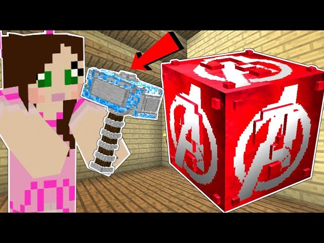 Minecraft: THE AVENGERS LUCKY BLOCK!!! (SUPERHERO WEAPONS & ARMOR!) Mod Showcase