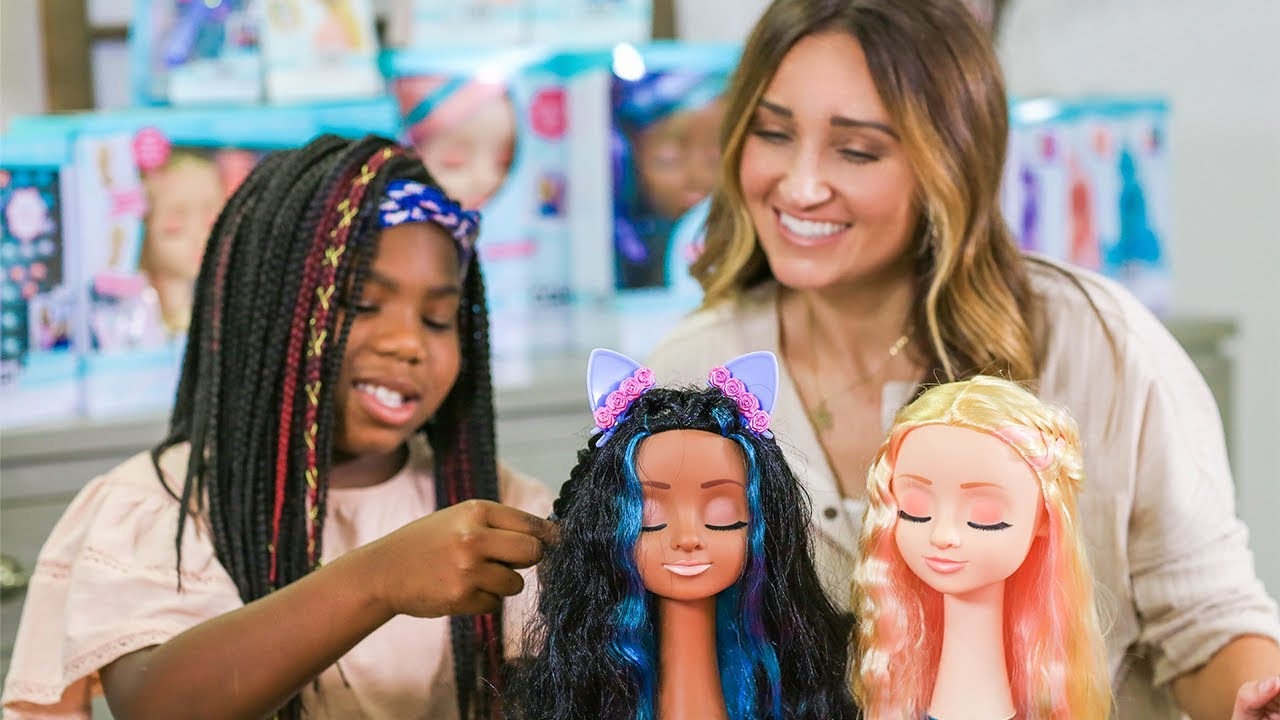 Paisley Learns to BRAID on our NEW Cute Girls Hairstyles Styling Heads!