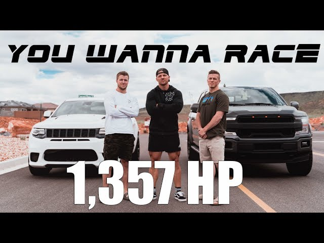 FORD F-150 SUPERCHARGED ROUSH VS JEEP GRAND CHEROKEE TRACKHAWK