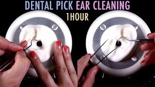 ASMR. 1 Hour of Ear Cleaning w/Dental Pick & Tweezers (No Talking)