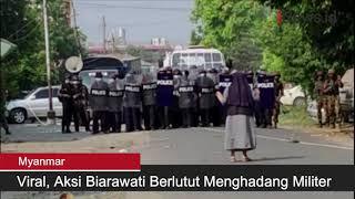 Aksi Biarawati Menghadang Militer Myanmar Demi Lindungi Demonstran Viral