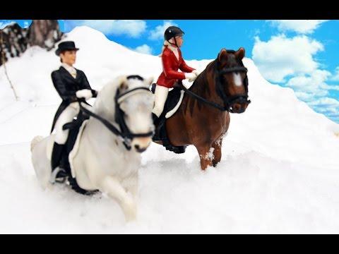 Schleich ЗИМНЯЯ ПРОГУЛКА, Наездники на Лошадях, Шляйх, Schleich Horses in Winter, Schleich Series