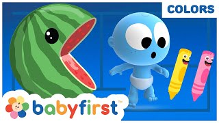 Pacman vs Color Crew & GooGoo GaaGaa | Toddler Learning Video | Fruits Name for Kids | BabyFirst TV