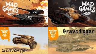 World of Tanks blitz Évènement MAD GAMES (Scavenger, Gravedigger) Tiers 5 et 7