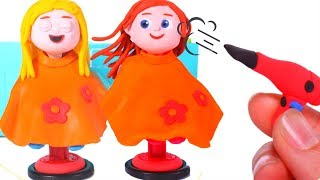 GIRLS AT THE HAIRDRESSER ❤ PLAY DOH CARTOONS FOR KIDS