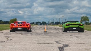 2018 Ford GT vs Lamborghini Huracan Drag Race