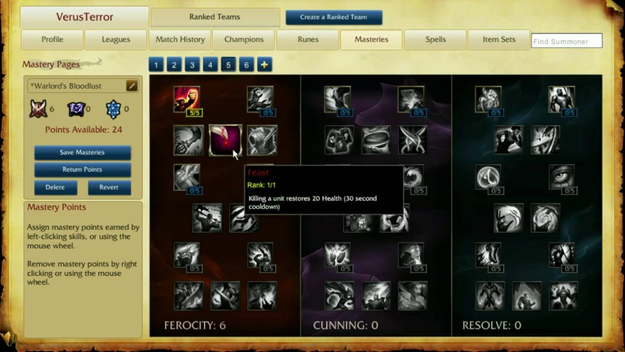 vayne masteries patch 6