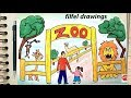 رسم حديقة الحيوان سهل جدا وبسيط خطوه بخطوه للمبتدئين