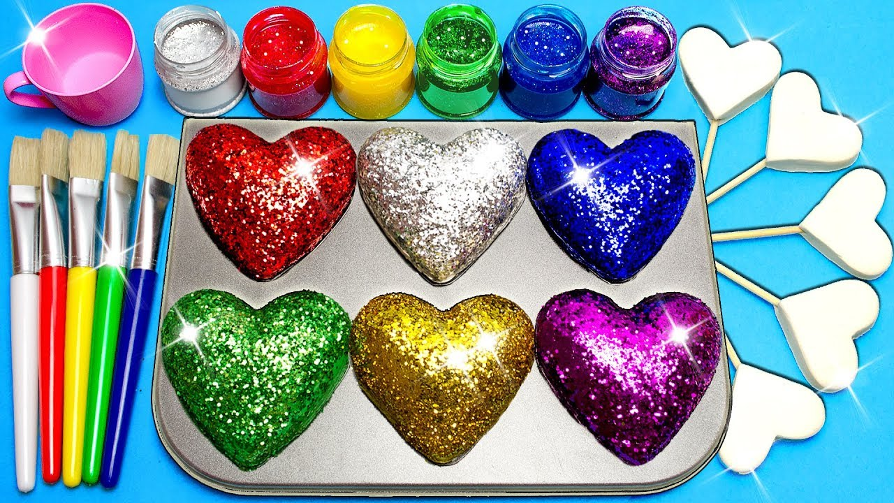 Download How To Make Frozen Paint with Glitter Rainbow Play Doh Hearts
