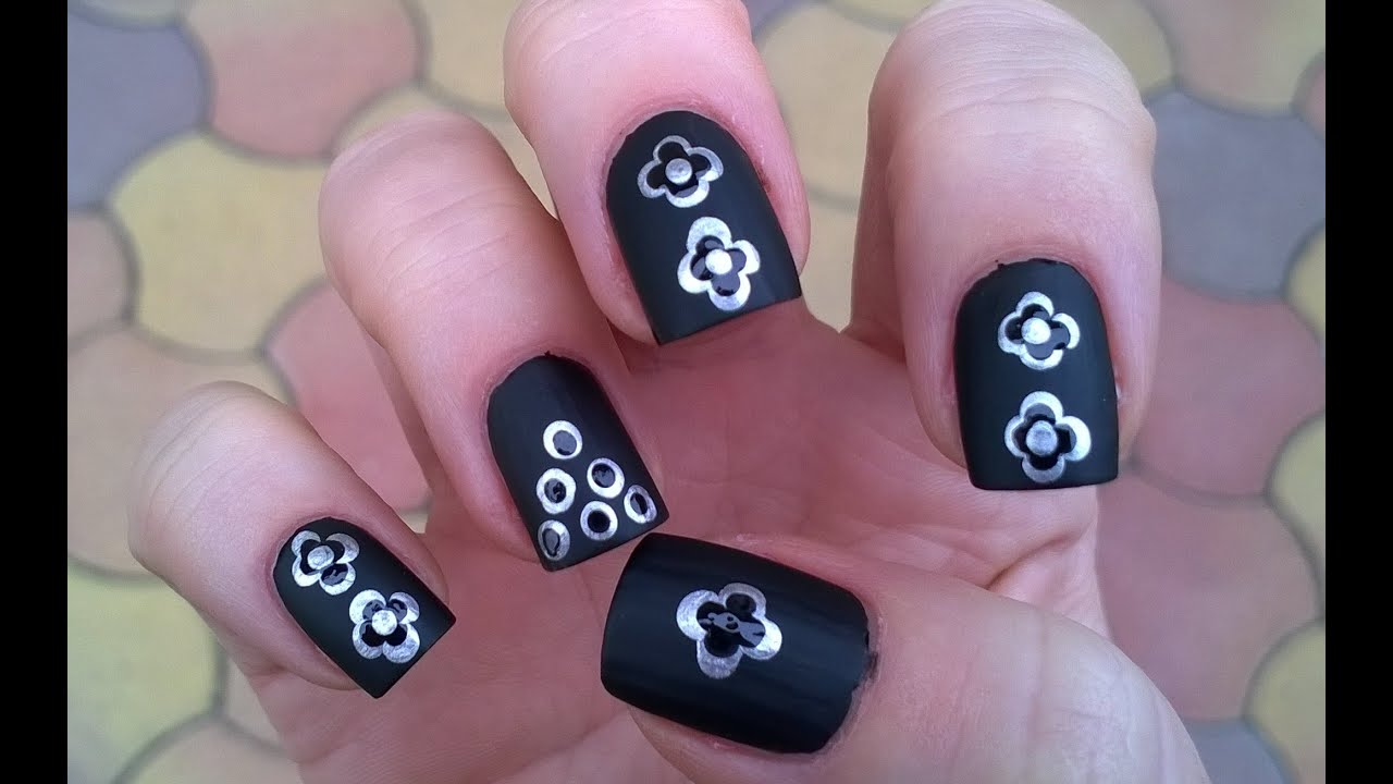 Black Matte Nail Polish Designs 3 Monochrome Nails By Using Dotting Tool Youtube