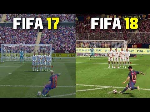 FIFA 18 vs FIFA 17 | Freekicks, Penalties , Gameplay , Graphics Comparison ft Messi, Ronaldo, Pogba