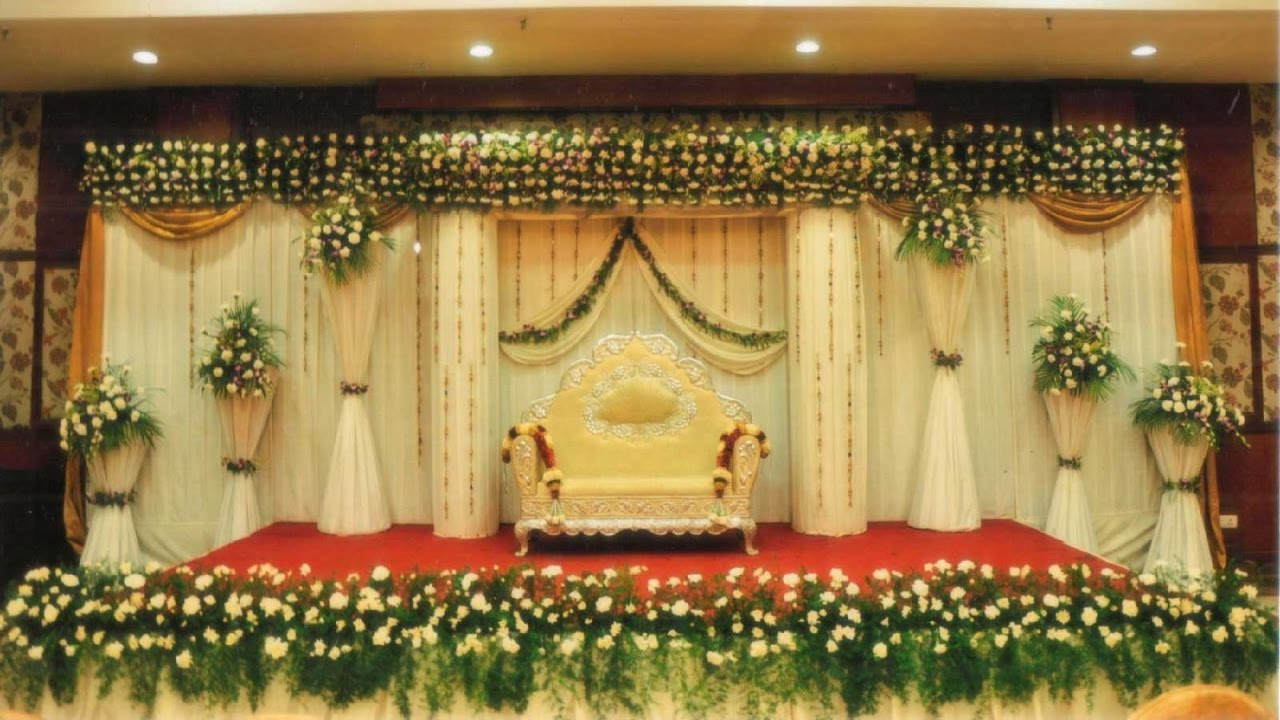 Simple wedding stage decoration at home youtube for Baby shower function decoration