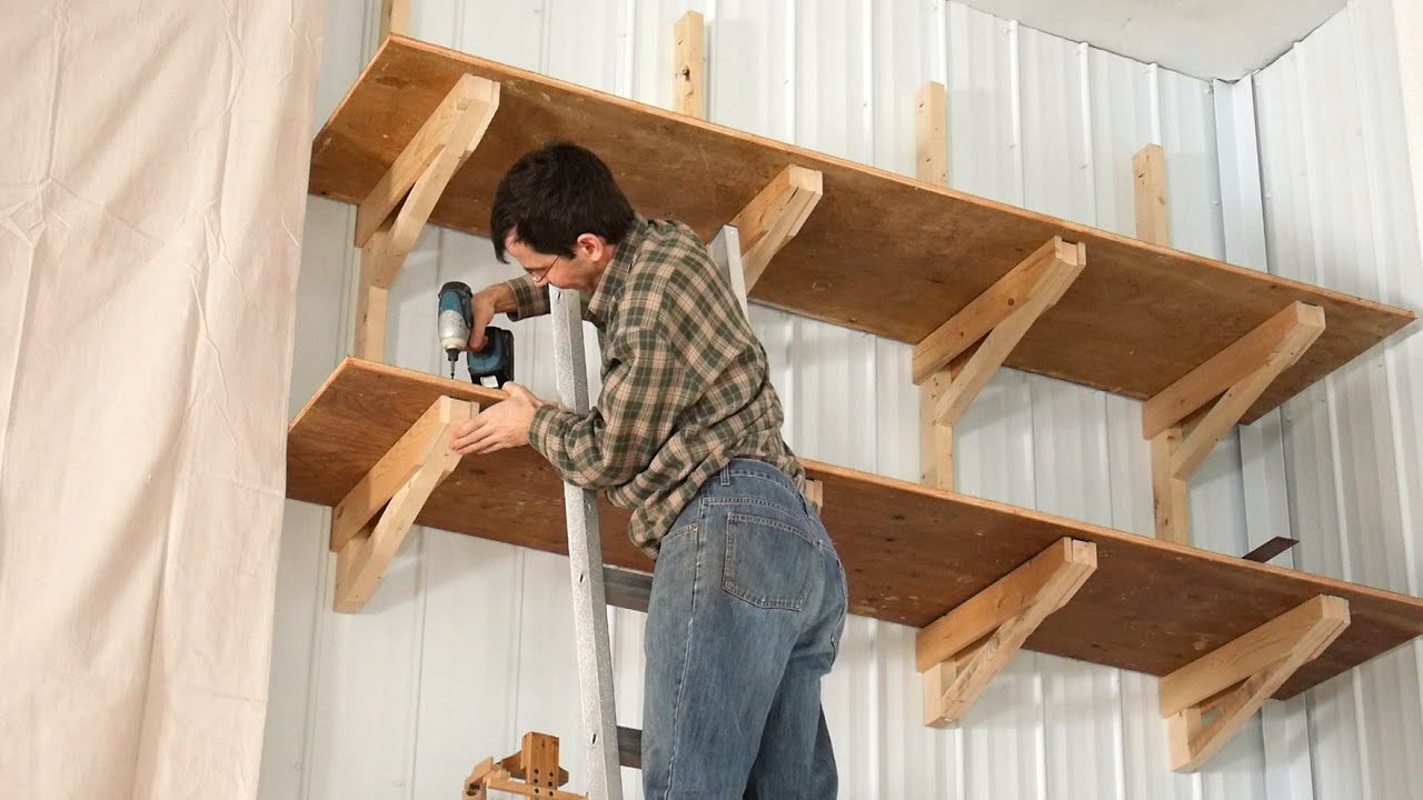 Up-high garage shelves - YouTube
