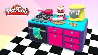 Play Doh Dollhouse Kitchen . DIY Toy Kitchen for Dolls. Learn Colors. Educational Video for Kids