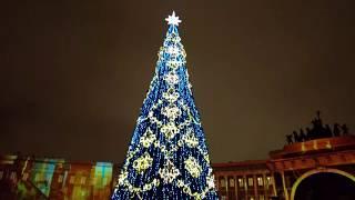 Лазерное Световое Шоу на дворцовой  в канун нового года Laser show, Saint-Petersburg,Russia