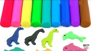 Learn colors with play doh animals elephant dolphin creative  fun for kids foam surprise
