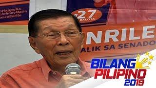 Juan Ponce Enrile, inilatag ang mga dahilan ng muli niyang pagtakbo