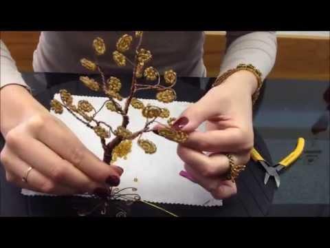 Осеннее дерево из бисера и проволоки. Очень легко! Beaded tree. Very easy. DIY