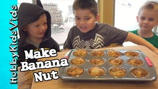 Best Banana Nut Muffin Recipe! HobbyKids Join in on the Treat by HobbyKidsVids