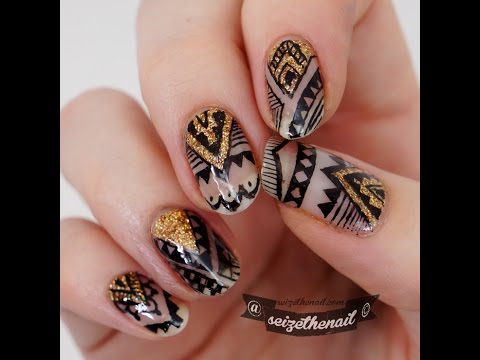 Aztek Nail Art With Ink Youtube