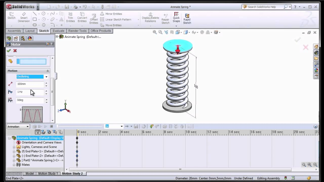 Define motion study - Solidworks Animating A Spring