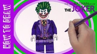 How to draw Lego Batman Movie JOKER and coloring! Easy tutorial!