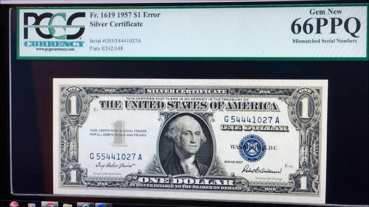 Mismatch Silver Certificate Dollar Bill Worth Money Rare Dollar