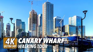 4K UHD Canary Wharf Walk About Tour Docklands London
