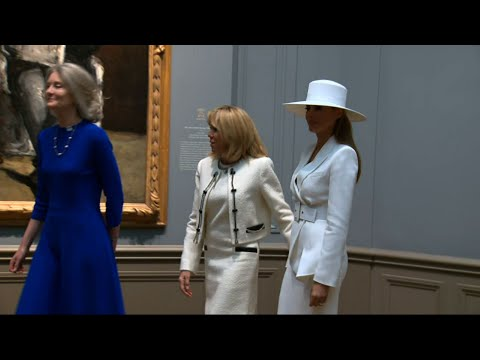 First Ladies Trump, Macron Tour National Gallery